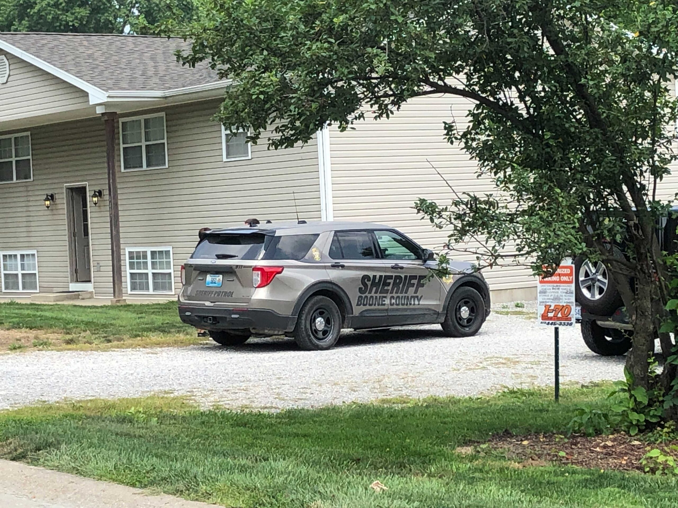 A Boone County Sheriff's Office cruiser is parked off West Bellview Drive outside Columbia during a shots-fired investigation on Friday, July 23, 2021.