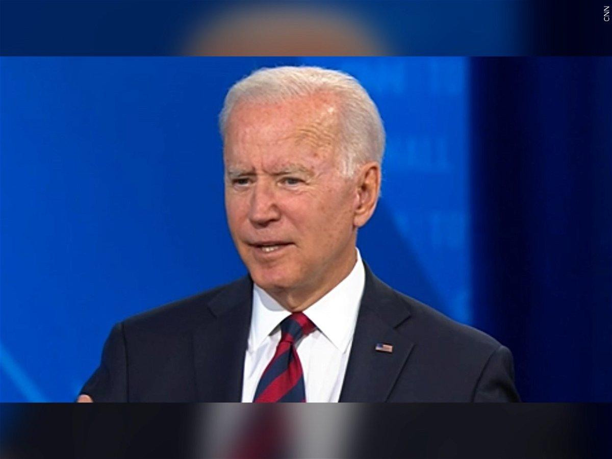 President Joe Biden speaks at a CNN town hall.