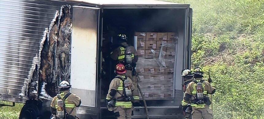 Trailer fire on I-70