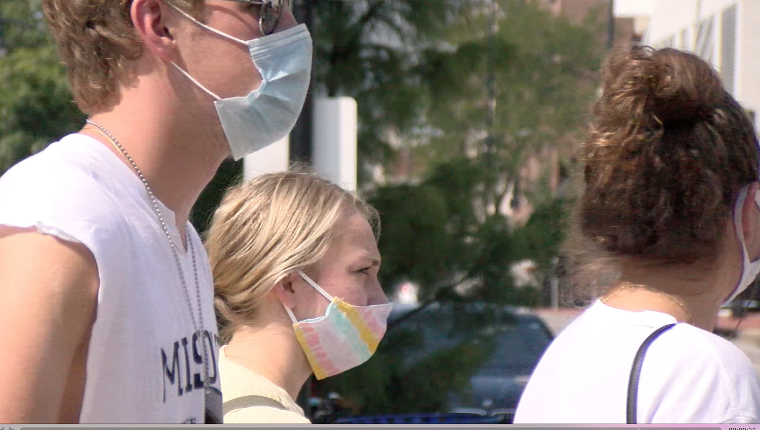 University of Missouri students wearing masks on campus during the fall 2020 semester.