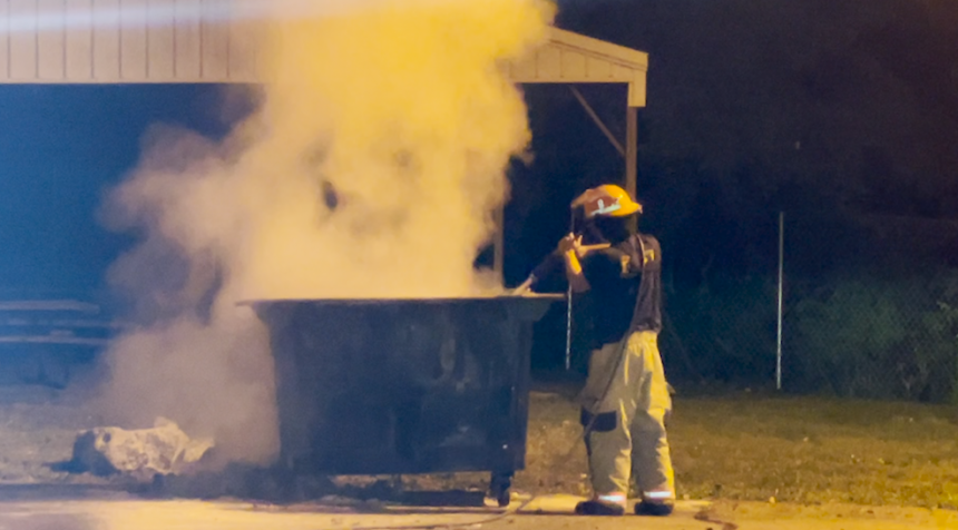 Dumpster Fire at Midway Heights Baptist Church on the morning of July 5, 2021