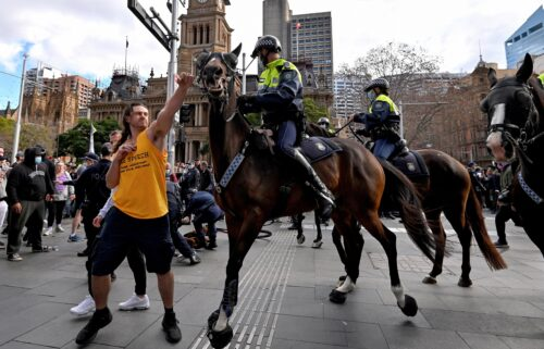 A protester tries to push away a police horse in Sydney on July 24