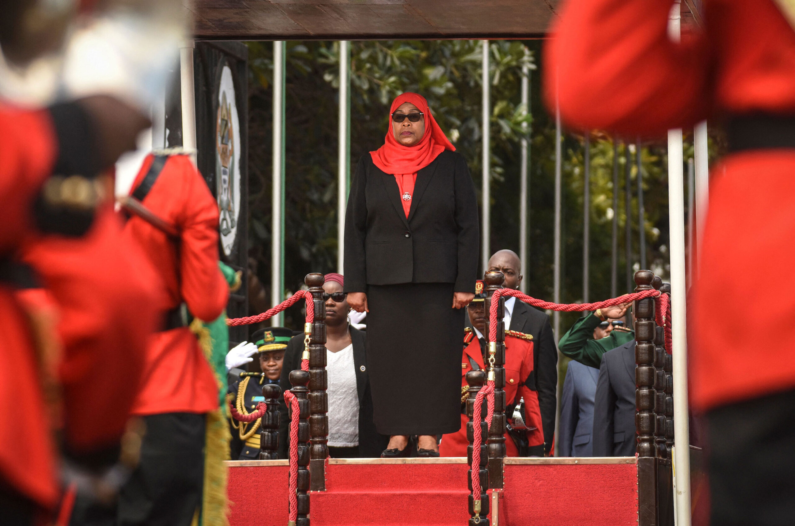 <i>STR/AFP/Getty Images</i><br/>Tanzanian President Samia Suluhu Hassan has stressed the importance of mask-wearing in recent days.