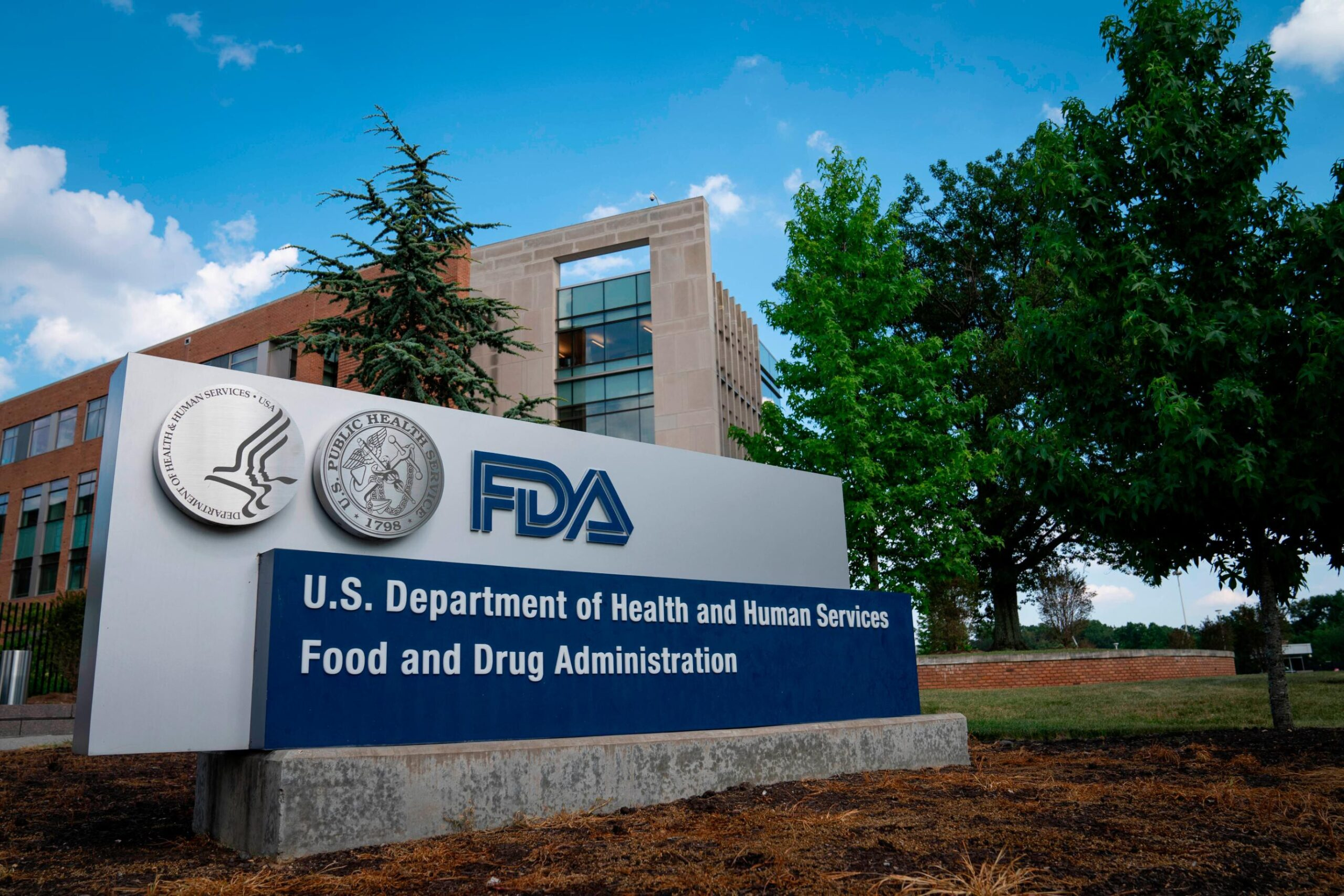 <i>Sarah Silbiger/Getty Images North America/Getty Images</i><br/>A sign for the Food And Drug Administration is seen outside of the headquarters on July 20