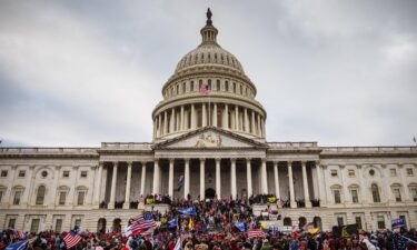 A large group of rioters stand on the East steps of the Capitol Building after storming its grounds on January 6 in Washington