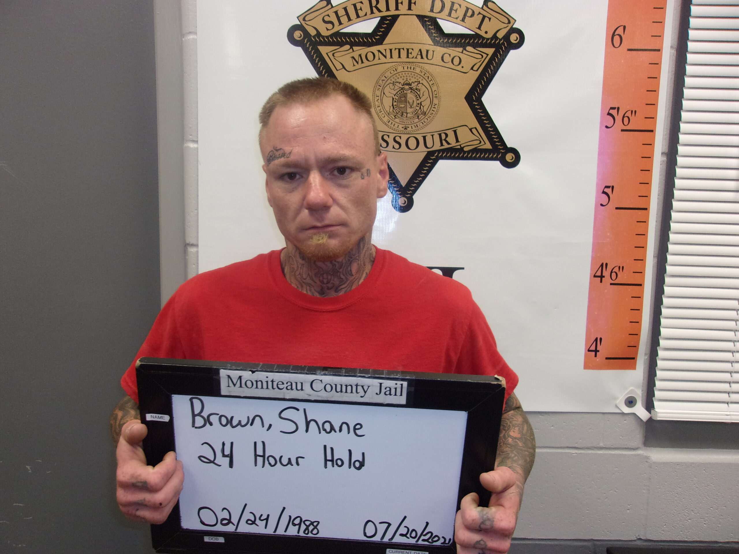 Shane Brown faces two charges of drug possession, resisting arrest and possession of drug paraphernalia.
