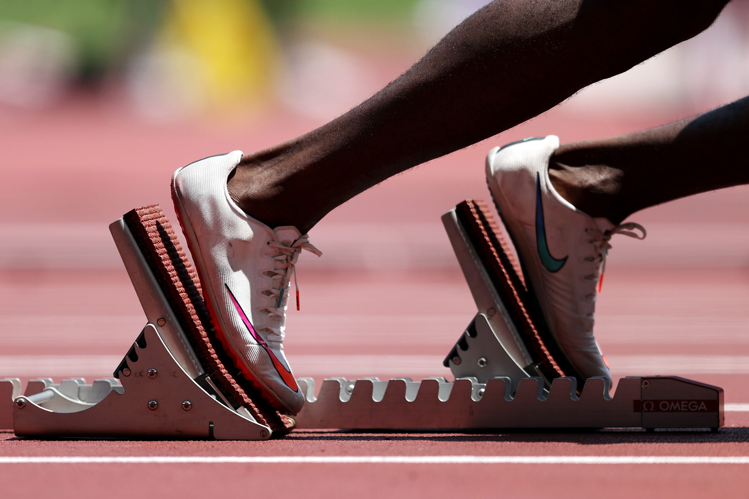 <i>Patrick Smith/Getty Images AsiaPac/Getty Images</i><br/>A runner takes to the starting blocks during the men's 400m heats at the Tokyo Olympics.
