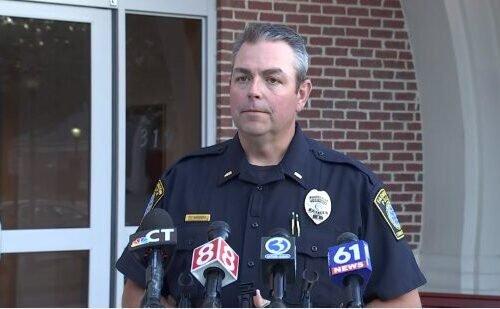 Lt. Tim McKenzie provides an update to the media after a Farmington