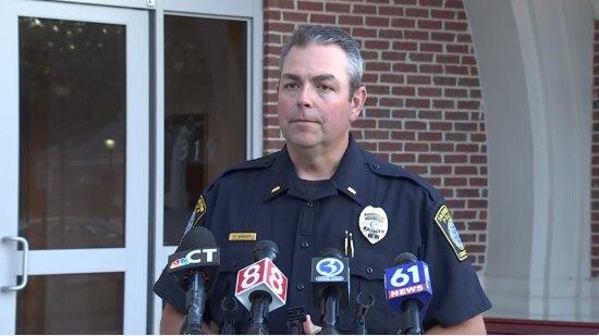 <i>WFSB</i><br/>Lt. Tim McKenzie provides an update to the media after a Farmington