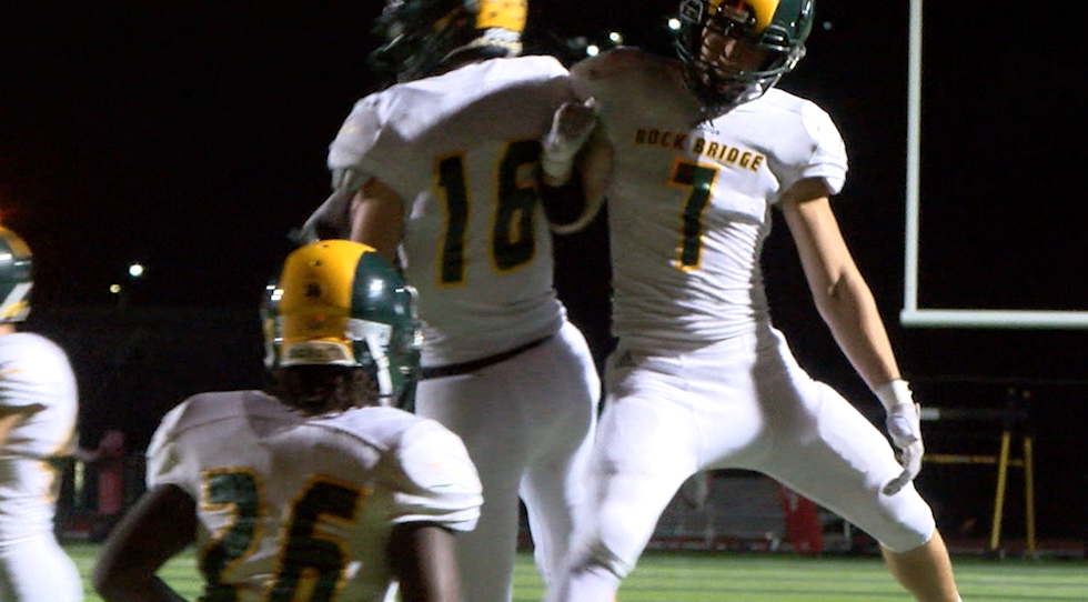 Members of the Rock Bridge football team celebrated a touchdown on Sept. 17, 2021.