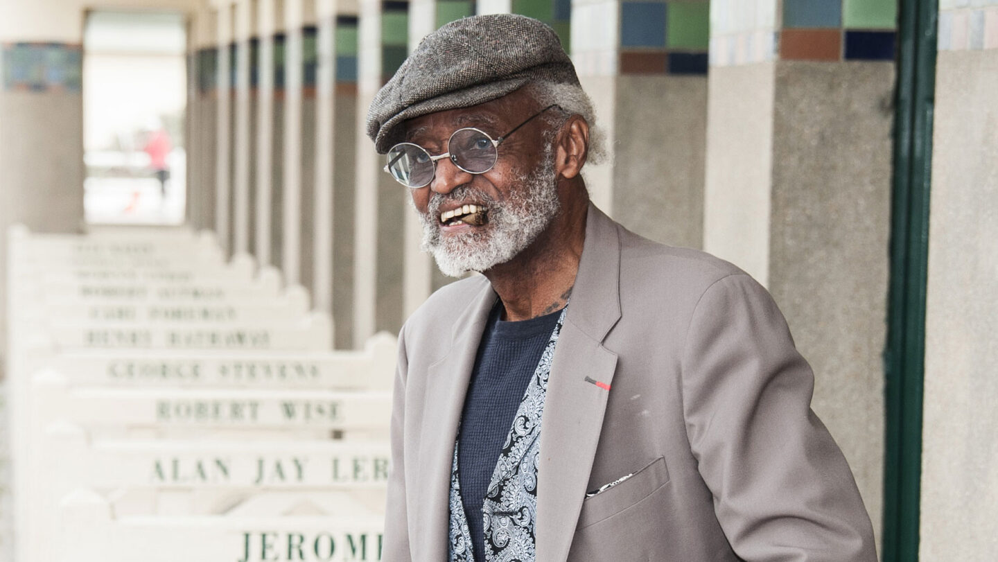 <i>Francois Durand/Getty Images</i><br/>Melvin Van Peebles poses next to the beach closet dedicated to him on the Promenade des Planches in 2012 in Deauville