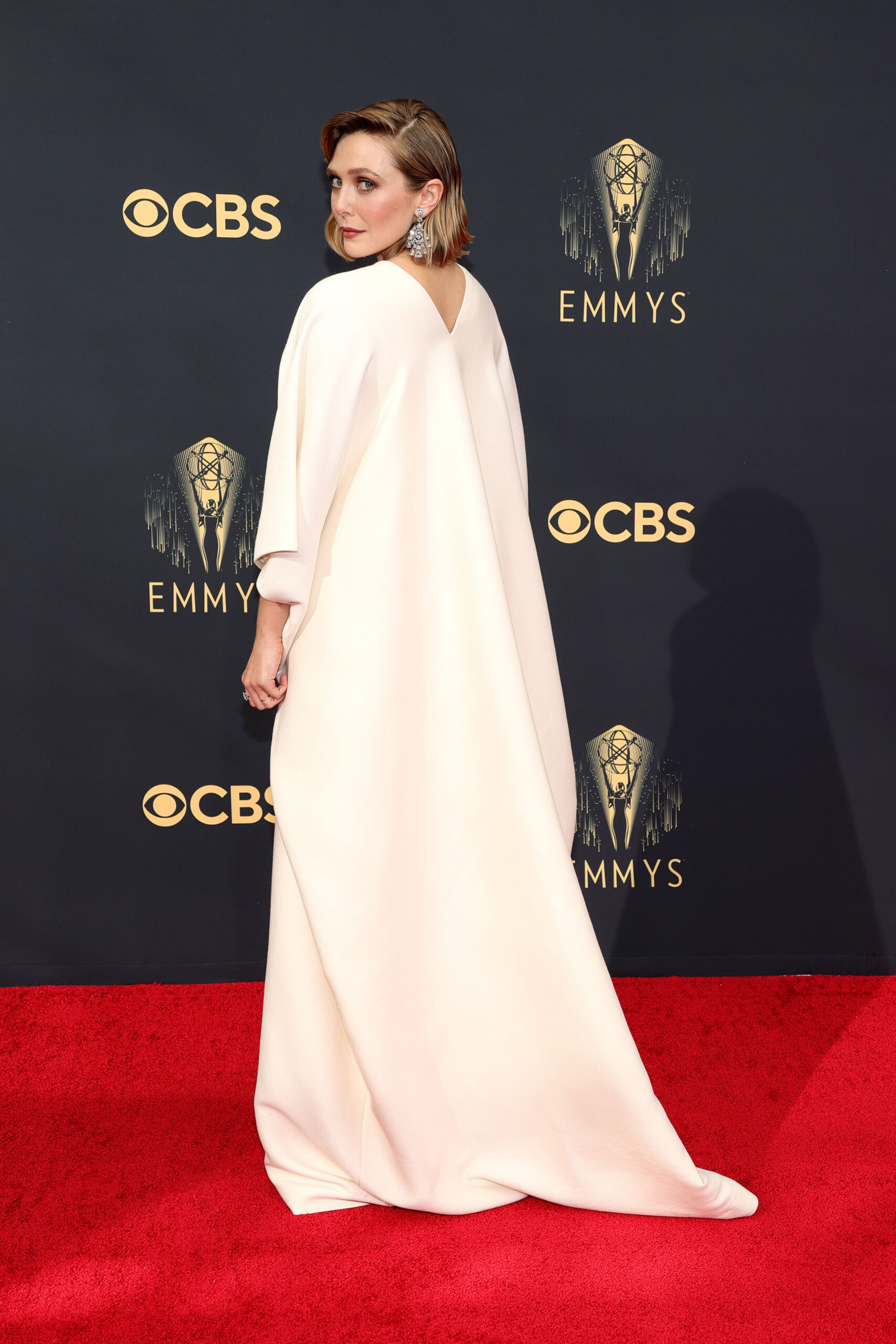 <i>Rich Fury/Getty Images</i><br/>Elizabeth Olsen wore a gown designed by her sisters to Sunday's Emmy Awards.
