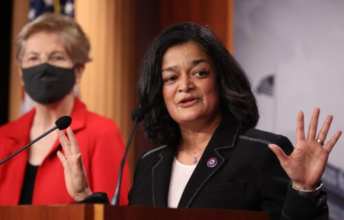 Rep. Pramila Jayapal (D-WA) (right) speaks during a news conference with Sen. Elizabeth Warren (D-MA) to announce legislation that would tax the net worth of America's wealthiest individuals at the U.S. Capitol on March 01