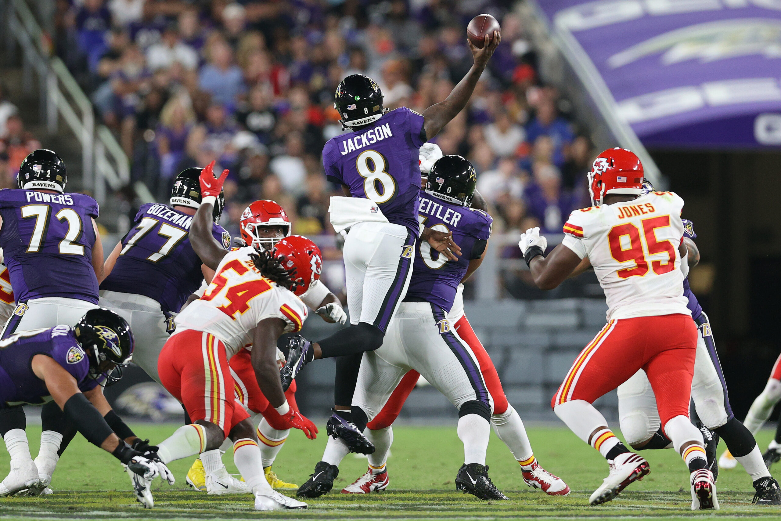 <i>Rob Carr/Getty Images</i><br/>Jackson throws a touchdown while in midair against the Chiefs.