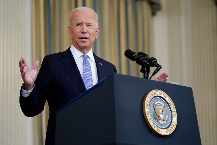 President Joe Biden speaks about the COVID-19 response and vaccinations in the State Dining Room of the White House