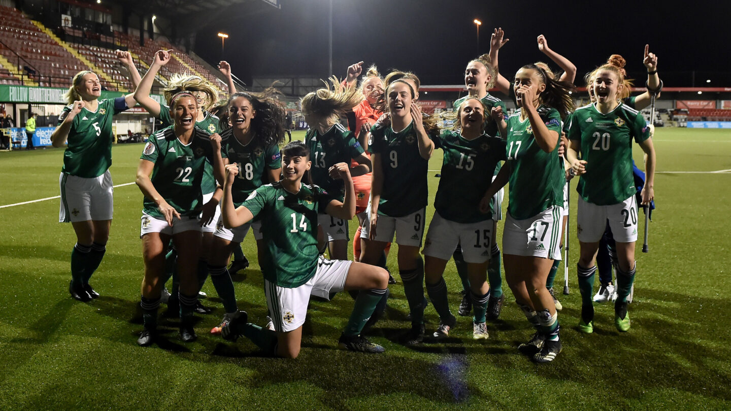 <i>Charles McQuillan/Getty Images</i><br/>Northern Ireland celebrates after winning 2-0 against Ukraine in the UEFA Women's Euro 2022 play-offs in Belfast