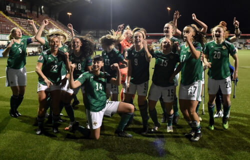 Northern Ireland celebrates after winning 2-0 against Ukraine in the UEFA Women's Euro 2022 play-offs in Belfast