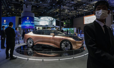 China Evergrande New Energy Vehicle Group's Hengchi 1 electric vehicle at an auto show in Shanghai in April.