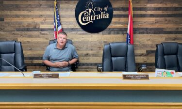 Centralia Mayor Chris Cox sits in the council chambers ahead of a Monday night Board of Aldermen meeting.
