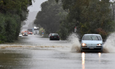 The flooded road from Catania to Syracuse due to the flooding of rivers and streams in Catania