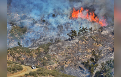Part of the Alisal Fire burns in California's Las Flores Canyon on October 15.